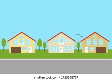 Suburban village. Three cottages. The property. Private house. Exterior architectural elements, exterior of modern buildings. Vector flat illustration.