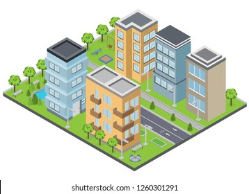 Suburbia buildings composition with lawns apartments and streets isometric vector illustration