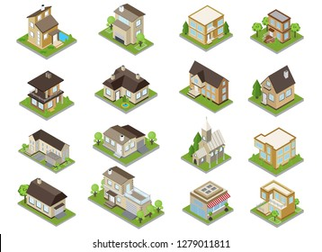 Suburbia buildings icons set with townhouses and church isometric isolated vector illustration