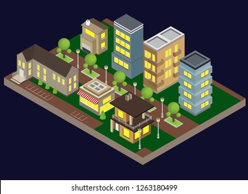 Suburbia evening buildings with town houses and apartments isometric vector illustration