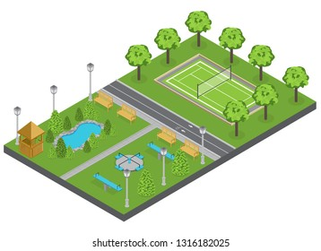 Suburbia park composition with trees pond and sports ground isometric vector illustration