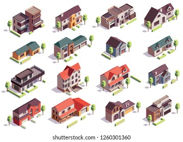 Suburbian buildings isometric composition with sixteen isolated images of modern residential houses with garages and trees vector illustration