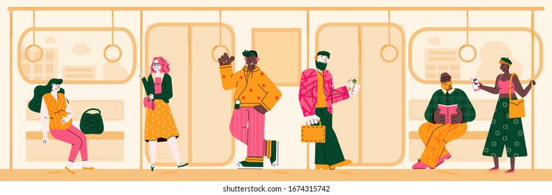 Subway background with people on way to home or work, flat vector illustration.