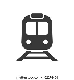 Subway black flat icon. Railway transport. Front view of train or tram sign. Vector isolated object.