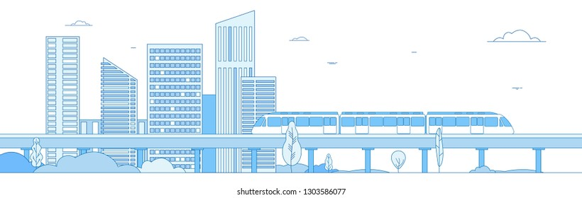 Subway cityscape. Monorail metro train in megapolis futuristic panorama. Underground transportation vector line concept