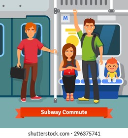 Subway commute. Young people, man and woman with kid sitting and standing in a subway train car. Flat style vector illustration.