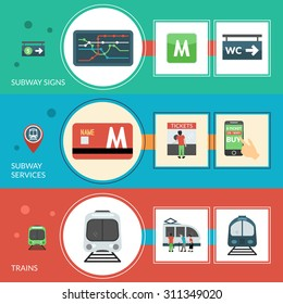 Subway horizontal banner set with signs and services elements isolated vector illustration