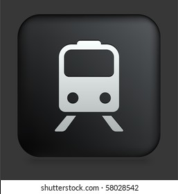 Subway Icon on Square Black Internet Button Original Illustration