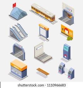 Subway icon set. Vector flat isometric illustration of metro underground items such as subway train, tunnel, subway platform, station, escalator, entrance gate or turnstile, ticket machine etc.