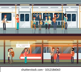 Subway inside with people man and waman. Metro platform and train interior. Urban metro vector concept. Illustration of metro platform, underground station with passenger people