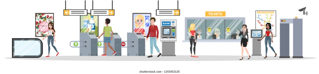 Subway interior with counter and entrance. Passengers buying tickets and going through the entrance. Vector flat illustration