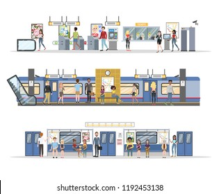 Subway interior with train and railway set. Collection of passengers buying tickets, waiting for transport and sitting in the train. Vector flat illustration