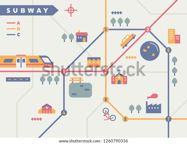 Subway Map Graphic Design.Subway Map Concept Illustration Flat Design Stock Vector Royalty