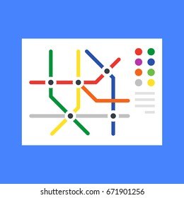 Subway map, metro map. Modern flat design concept. Vector illustration
