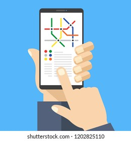 Subway map on smartphone screen. Metro app with metro map. Hand holding mobile phone, finger touching screen. Navigation, location concepts. Modern flat design. Vector illustration
