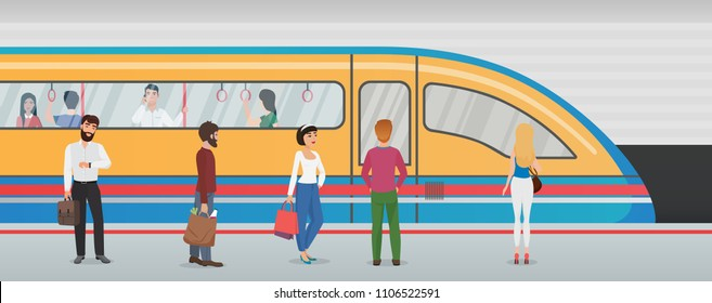 Subway metro platform with train and people in underground station. Urban metro vector concept with passengers.