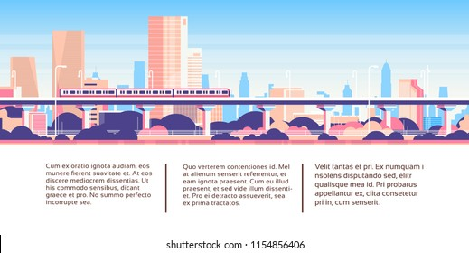 Subway monorail over city skyscraper business infographic template cityscape background skyline flat horizontal banner vector illustration