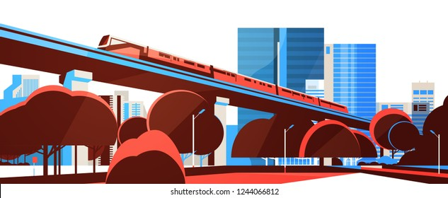 Subway monorail over city skyscraper view cityscape background skyline flat horizontal banner