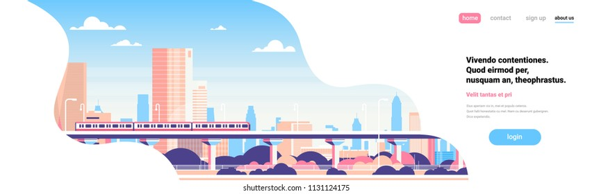 Subway over city skyscraper view cityscape background skyline flat banner copy space vector illustration