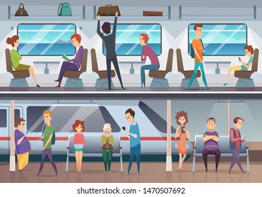 Subway. People waiting train in urban metro underground platform vector background. Train in metropolitan with passenger, commuter inside illustration
