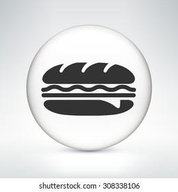 Subway Sandwich on White Round Button