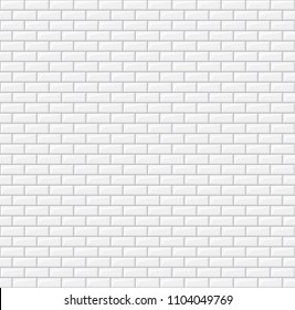 Subway seamless white pattern. Brick wall. Vector illustration