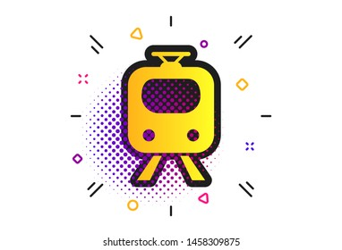 Subway sign icon. Halftone dots pattern. Train, underground symbol. Classic flat subway icon. Vector