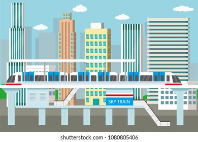 Subway or skytrain station,city metro,city view with skyscrapers on background, flat vector illustration.