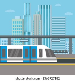 Subway or skytrain station,city metro,city view with skyscrapers on background, flat vector illustration