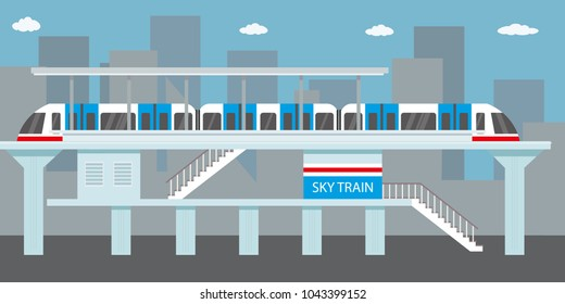 Subway or skytrain station,city metro,flat vector illustration