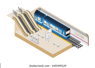 Subway station isometric vector illustration. Empty underground platform, modern city travel system. 3D speed train on railroad tracks. metro tokens, ticket and escalator. Public urban transportation