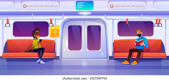 Subway train car with people in masks. Woman with phone and man with book in metro wagon. Vector cartoon illustration of underground railway carriage with sitting passengers that keep social distance
