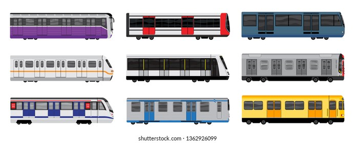 Subway train icons set. Cartoon set of subway train vector icons for web design