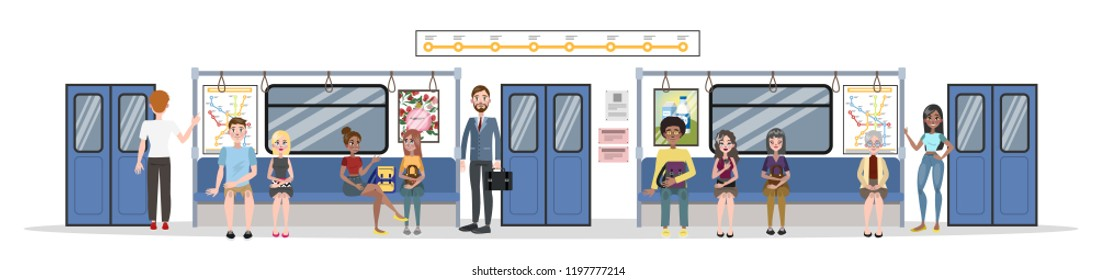 Subway train interior and railway. Passengers in metro with tickets, riding in transport and sitting in the train. Vector flat illustration