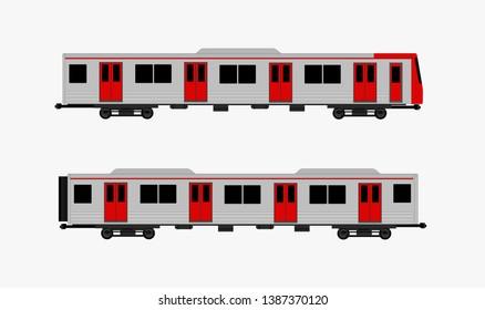 Subway train isolated vector, public transportation concept.