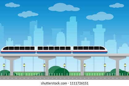 Subway train Metro on bridge Over City  Background, Flat Vector Illustration.