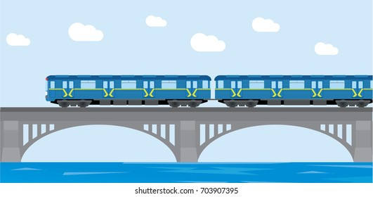 Subway train Metro on bridge. Flat Vector Illustration