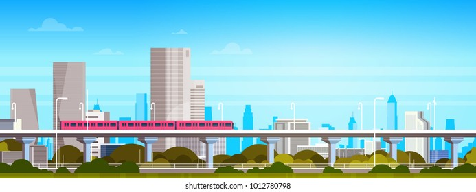 Subway Train Over Modern City Panorama With High Skyscrapers, Cityscape Background Horizontal Banner Flat Vector Illustration