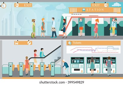 Subway train station platform with people traveling, Train ticket vending machines, Railway Map, Entrance of railway station, transportation vector illustration.