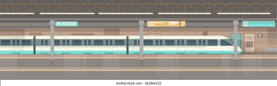 Subway Tram Modern City Public Transport, Underground Rail Road Station Flat Vector Illustration