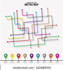 Subway tube map. City transportation vector grid scheme. Metro underground map. DLR and crossrail map design template.