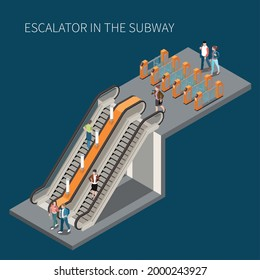 Subway underground metro access with turnstile fare gates passengers descending ascending stairs and escalator isometric vector illustration