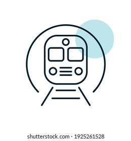 Subway underground metro train flat vector icon. Graph symbol for travel and tourism web site and apps design, logo, app, UI