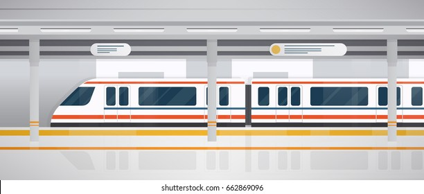 Subway, underground platform with modern train. Horizontal colorful vector illustration in flat style.