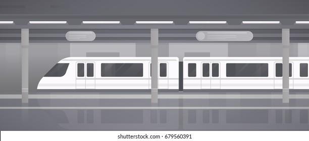 Subway, underground platform with modern train. Horizontal monochrome vector illustration in flat style.
