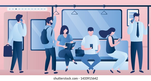 Subway underground, train car modern interior with various passengers with gadgets. People sitting and standing. Male and female characters in trendy style, vector illustration.