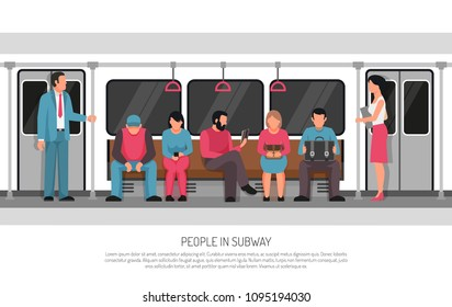 Subway underground transportation flat poster header title with metro commuter rail system train car passengers vector illustration