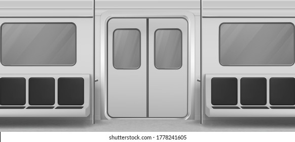 Subway wagon interior inside view with door, seats and windows. Empty metro, underground tube design Modern public railway, metropolitan railroad urban transportation. Realistic 3d vector illustration