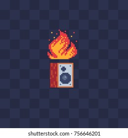 Subwoofer and fire. Pixel art stile icon. Video game 8-bit sprite. Flat stile logo. Isolated vector illustration. Symbol, logo, sticker design.