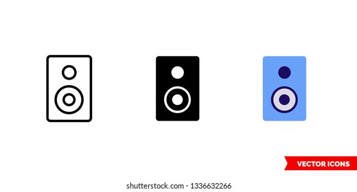 Subwoofer icon of 3 types: color, black and white, outline. Isolated vector sign symbol.